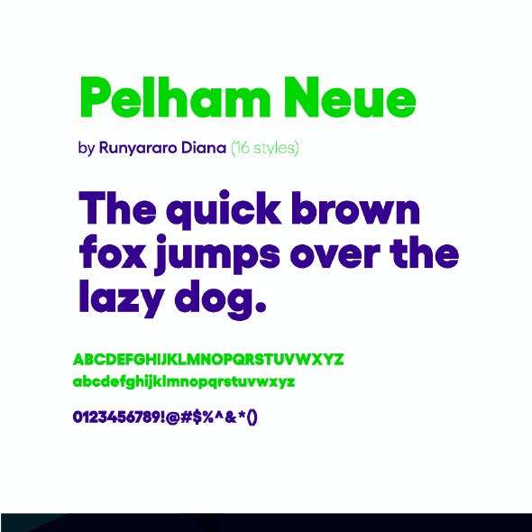 Pelham Neue Sans Serif Font (16 Fonts)