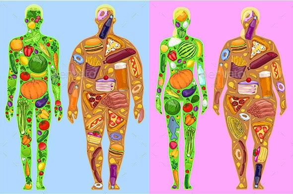 Food in People, Man Woman, Diet - People Characters