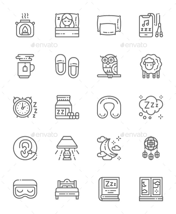 Set Of Sleep Line Icons. Pack Of 64x64 Pixel Icons - Abstract Icons