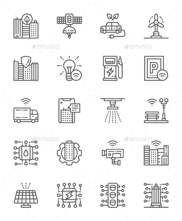 Set Of Smart City Line Icons. Pack Of 64x64 Pixel Icons - Technology Icons