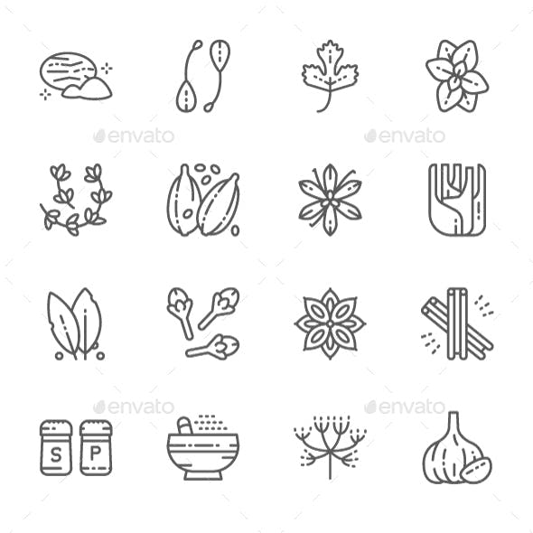 Set Of Spice Line Icons. Pack Of 64x64 Pixel Icons