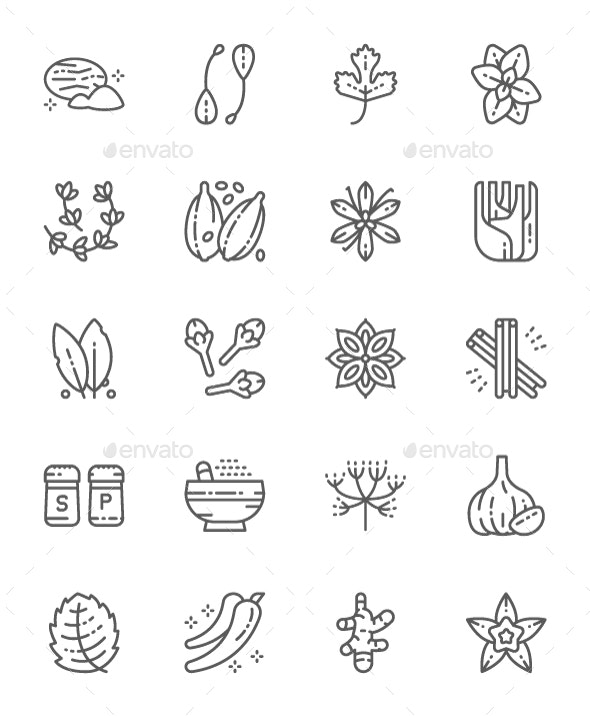 Set Of Spice Line Icons. Pack Of 64x64 Pixel Icons - Food Objects