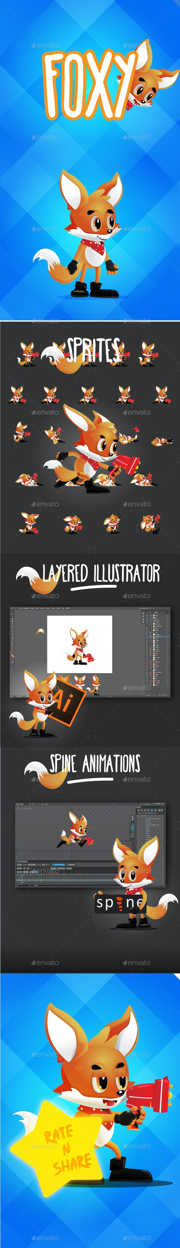 Foxy 2D Game Character Asset - Sprites Game Assets