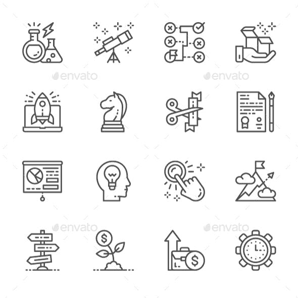 Set Of Startup Line Icons. Pack Of 64x64 Pixel Icons