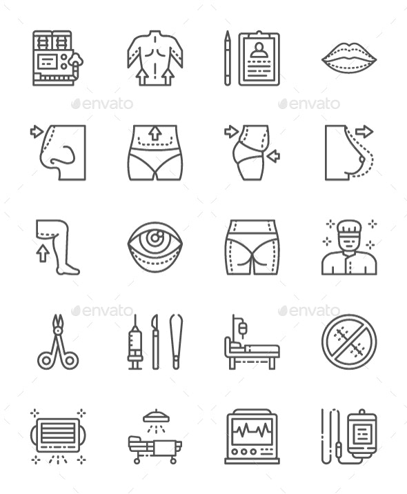 Set Of Plastic Surgery Line Icons. Pack Of 64x64 Pixel Icons - Objects Icons