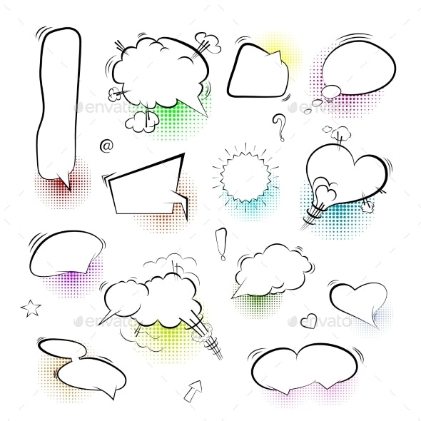 Set of Comic Bubbles and Elements on White - Miscellaneous Vectors