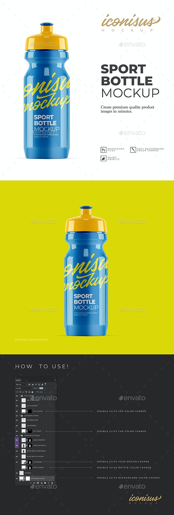 Sports Bottle Mockup Template - Product Mock-Ups Graphics