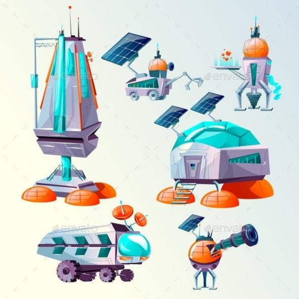 Planet Colonization Vector Cartoon Set - Technology Conceptual