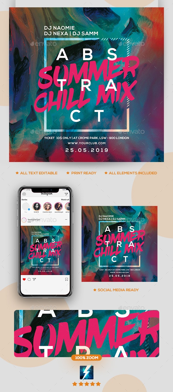 Abstract Summer Party Flyer - Clubs & Parties Events