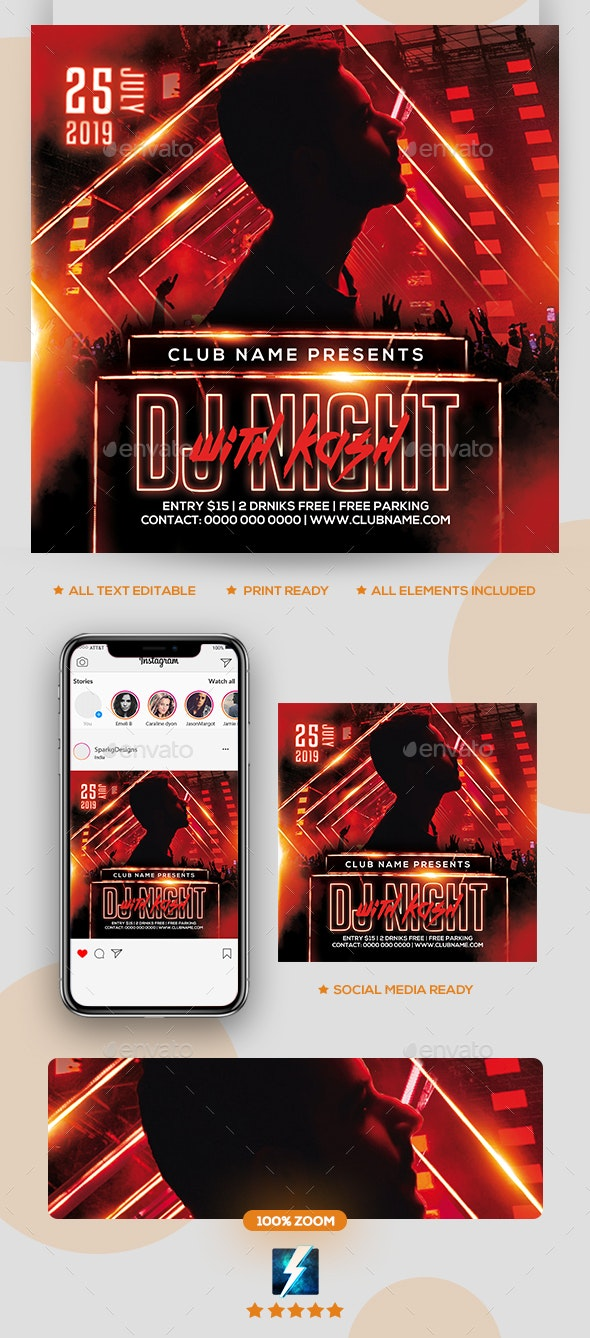 Dj Night Party Flyer - Clubs & Parties Events