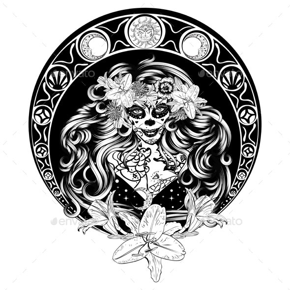 Calavera Woman with Flowers Portrait - People Characters