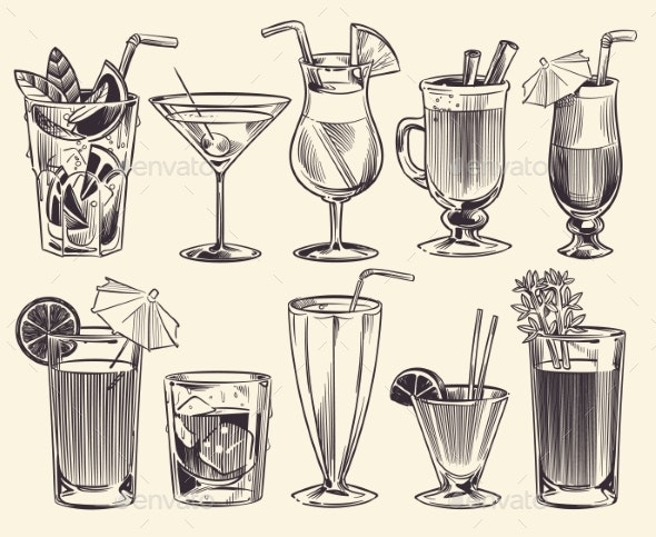 Hand Drawn Cocktails Sketch Cocktails and Alcohol - Food Objects