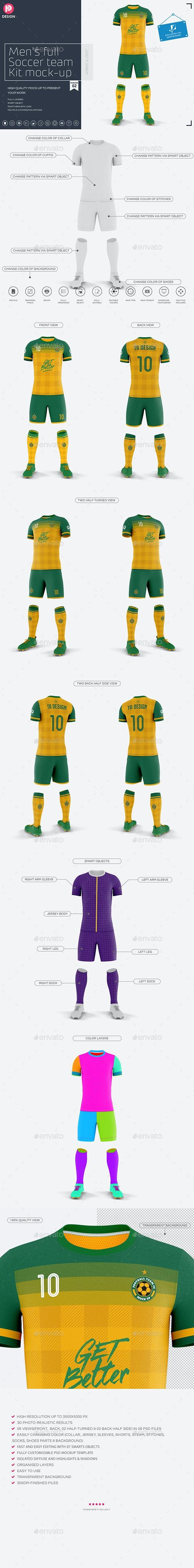 Men's Full Soccer Team Kit Mockup V2 - Miscellaneous Apparel