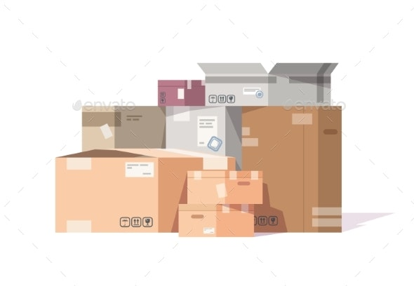 Cardboard Boxes Stack - Miscellaneous Vectors