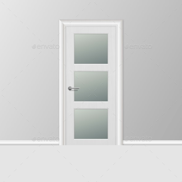 Vector Realistic Simple Modern White Closed Door - Buildings Objects