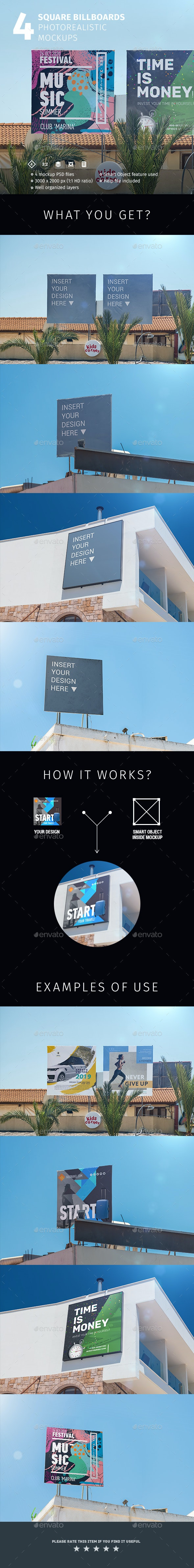 4 Square Billboards Photorealistic Mockups - Signage Print