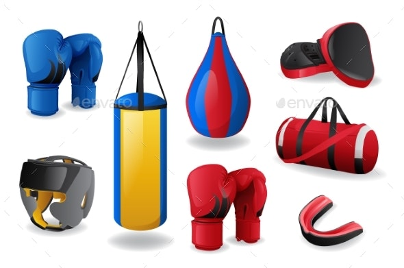 Boxing Equipment Set Isolated - Man-made Objects Objects