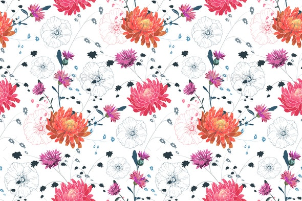 Pink Orange and White Flowers - Miscellaneous Vectors
