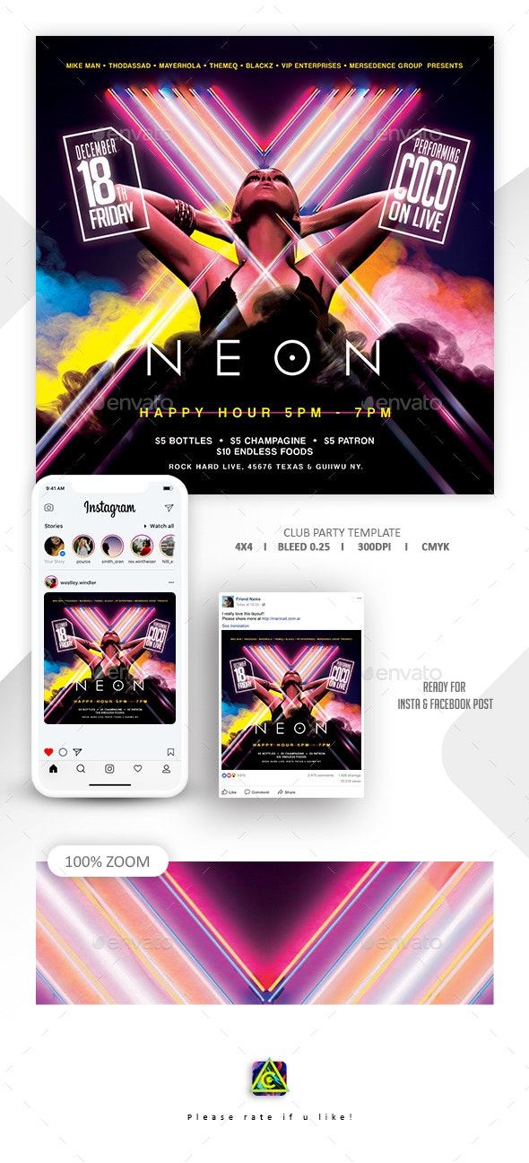 Neon Club Party Flyer - Clubs & Parties Events