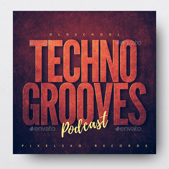 Oldschool Techno Grooves - Audio Podcast Cover Design Template