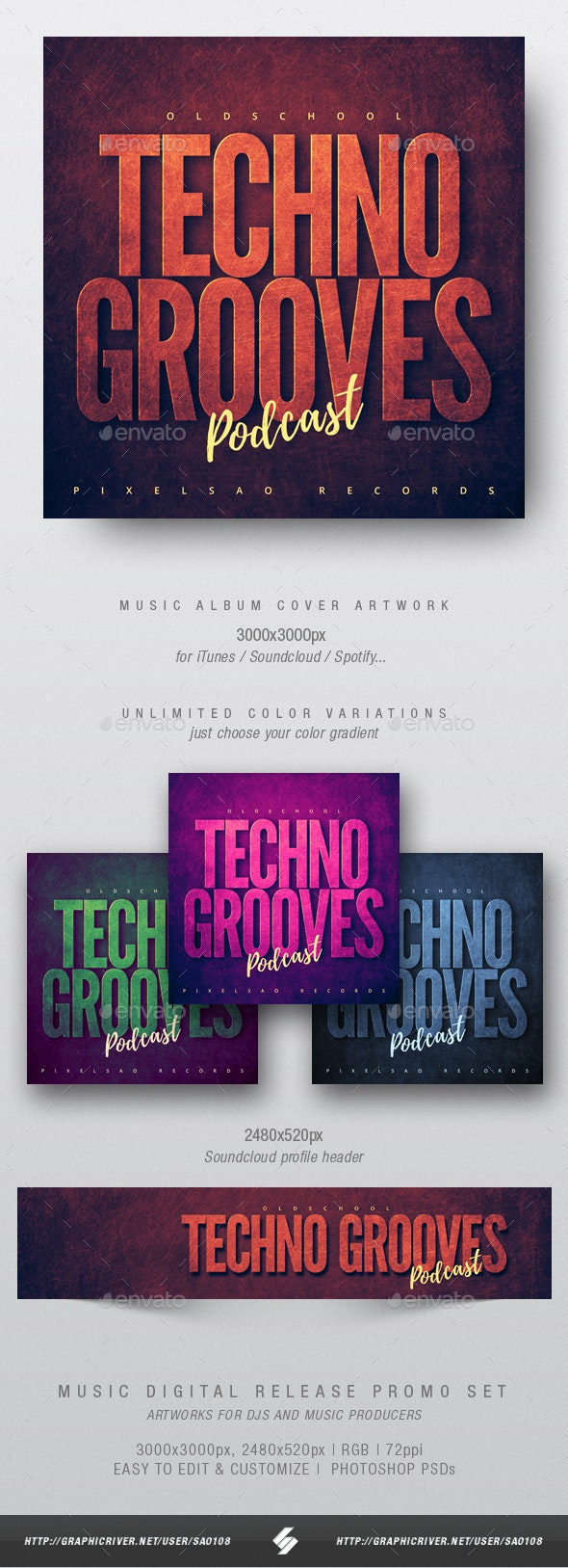 Oldschool Techno Grooves - Audio Podcast Cover Design Template - Miscellaneous Social Media