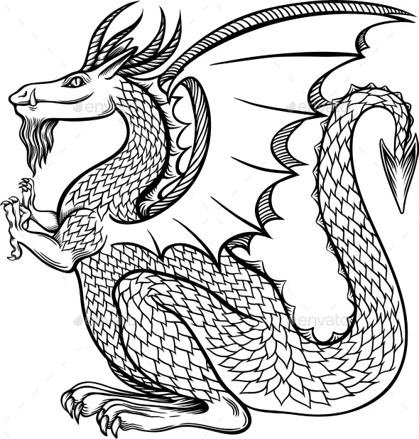 Ink Chinese Dragon in Chinese - Animals Characters