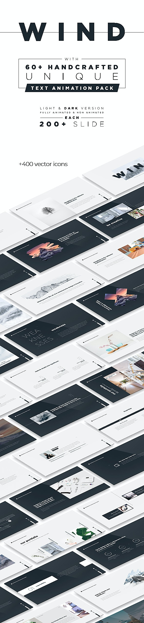 Wind Minimal & Clean Powerpoint With Text Animation Pack - PowerPoint Templates Presentation Templates