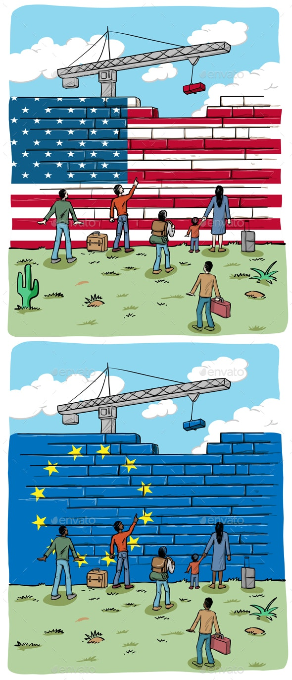 People Refugees in Front of European and USA Wall Flag - Miscellaneous Conceptual