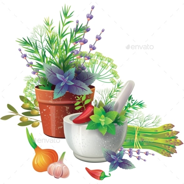 Still Life with Aromatic Herbs in Pots - Food Objects
