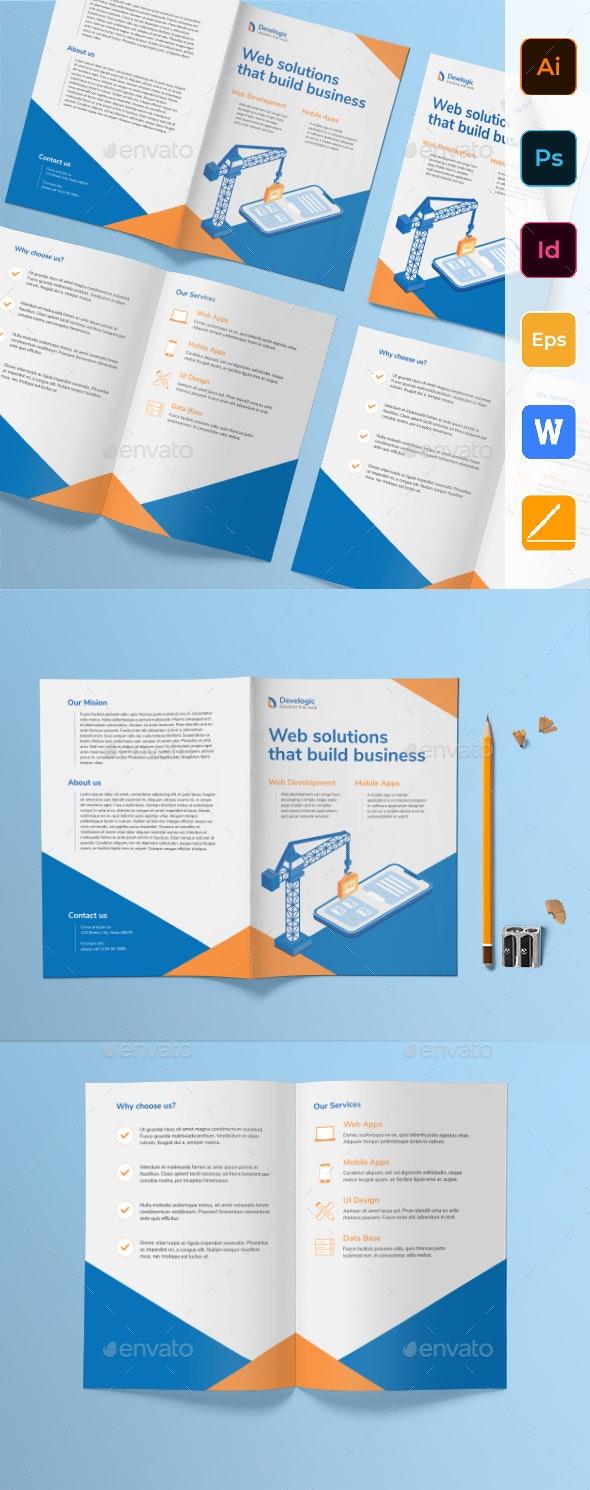 Web And Mobile App Bifold Brochure - Corporate Brochures