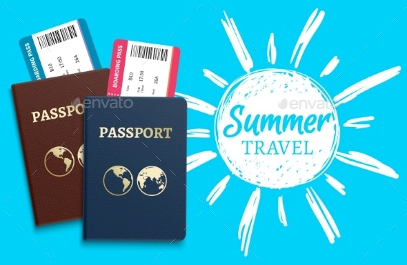 Summer Travel Vector Background with Sketch Sun - Travel Conceptual