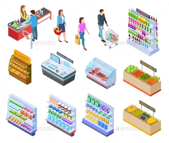 People Isometric Store - Food Objects