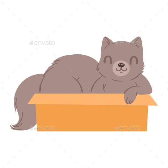 Cat in Box Vector - Animals Characters