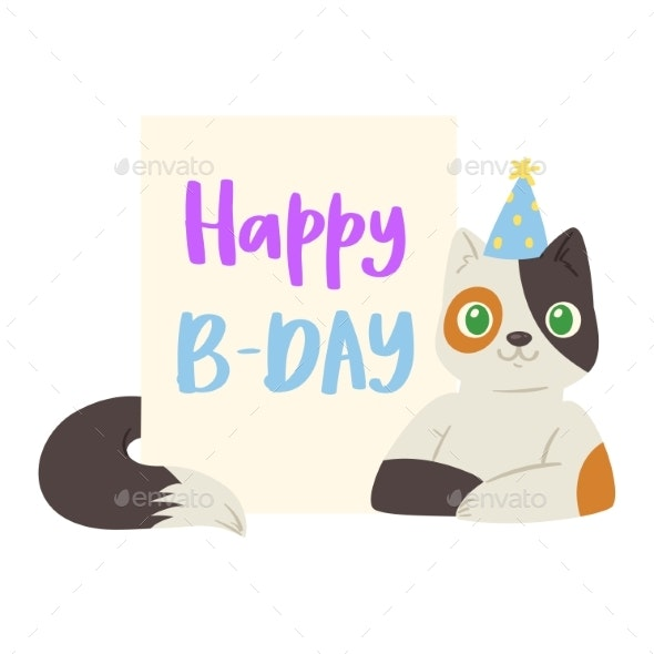 Cat Birthday Banner Vector - Birthdays Seasons/Holidays