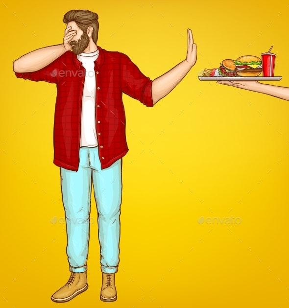 Fatty Man Rejecting Fast Food Cartoon Vector - Miscellaneous Vectors