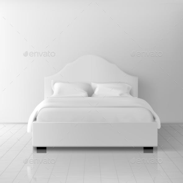Double Bed with White Bedding Realistic Vector