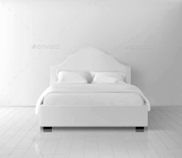 Double Bed with White Bedding Realistic Vector - Buildings Objects