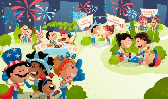 4th of July Poster with Celebrating People - People Characters