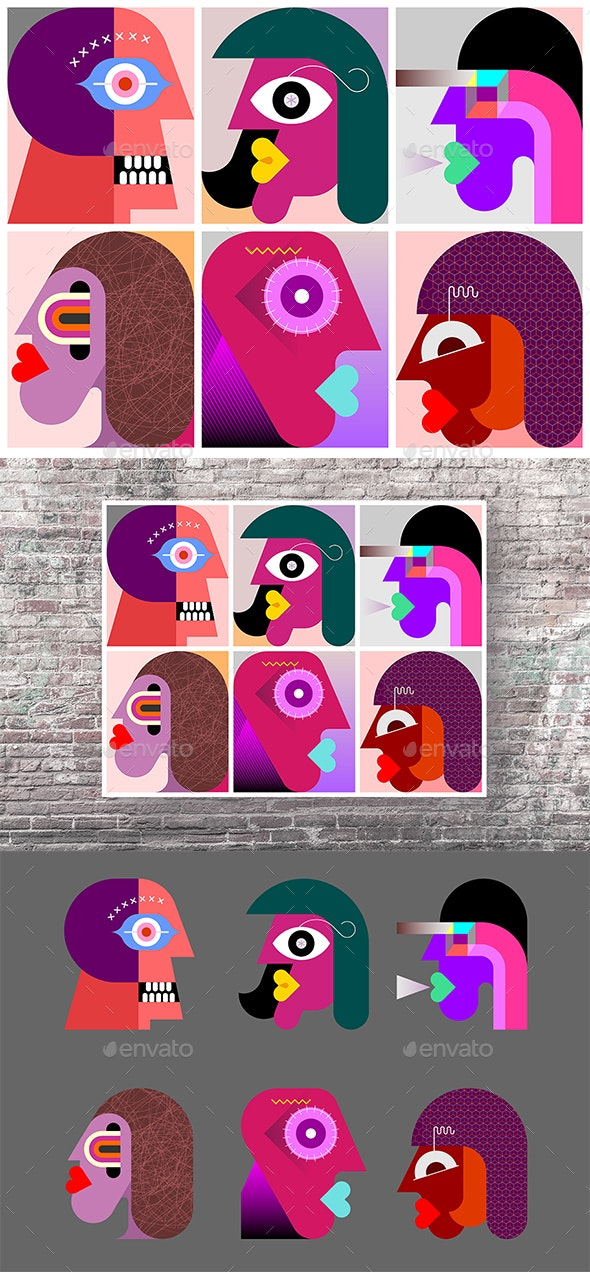 Six Persons Portraits - People Characters