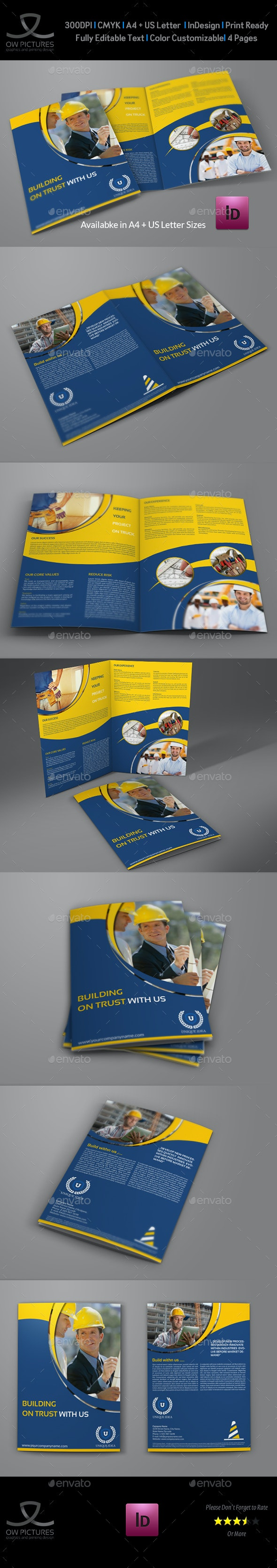 Construction Company Brochure Bi-Fold Template - Corporate Brochures