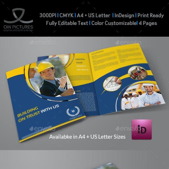Construction Company Brochure Bi-Fold Template