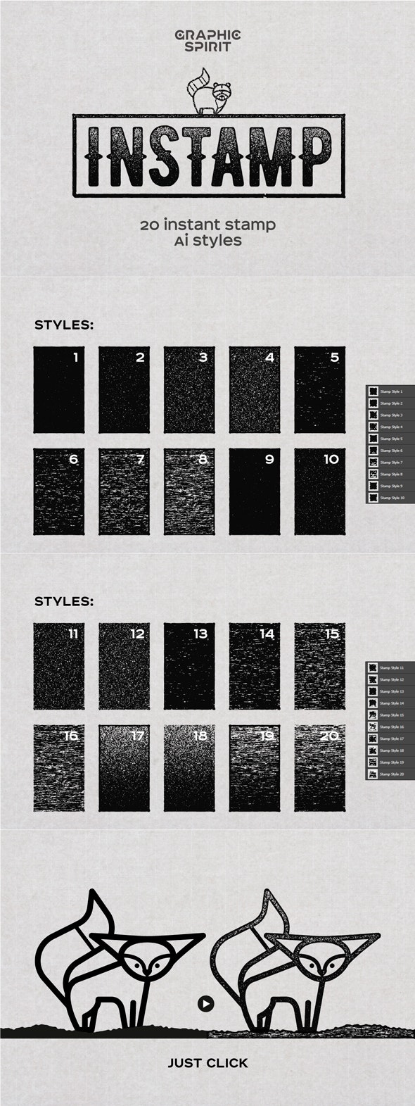 INSTAMP Instant Stamp AI Styles - Styles Illustrator