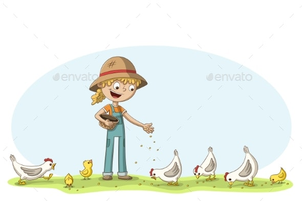 Little Girl Feeds Chickens - Animals Characters