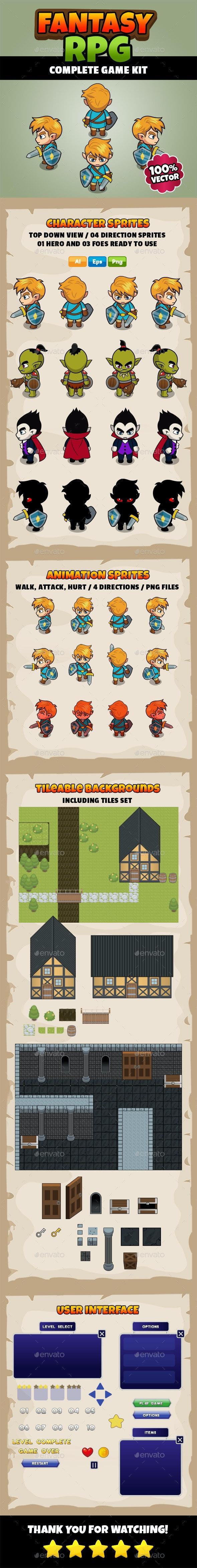 Fantasy RPG - Complete Game Kit - Game Kits Game Assets