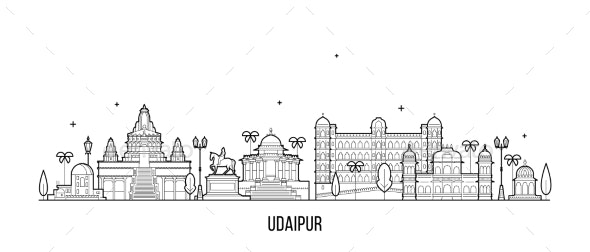 Udaipur Skyline Rajasthan India City Vector - Buildings Objects