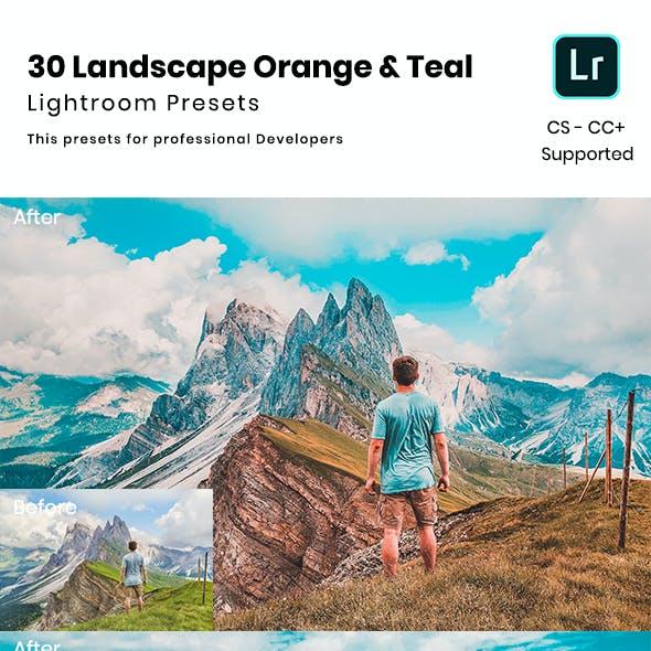 30 Landscape Orange & Teal  Lightroom Presets