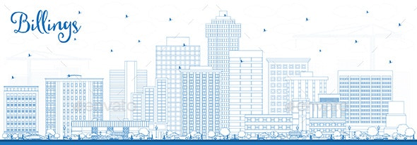 Outline Billings Montana City Skyline with Blue Buildings - Buildings Objects