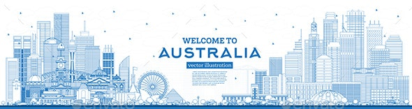 Outline Welcome to Australia Skyline with Blue Buildings - Buildings Objects