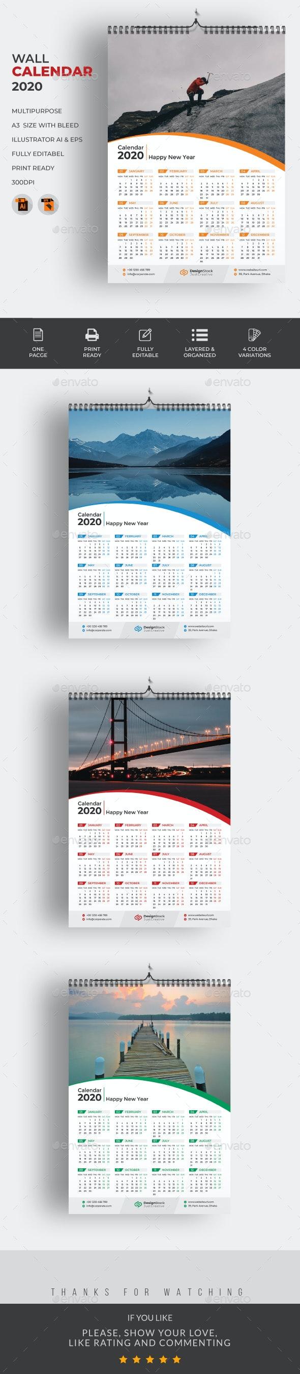 1 Page Wall Calendar 2020 - Calendars Stationery