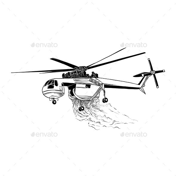 Hand Drawn Sketch of Professional Fire Helicopter - Man-made Objects Objects